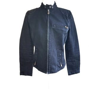 Lauren Ralph Lauren Black Denim Moto Jacket